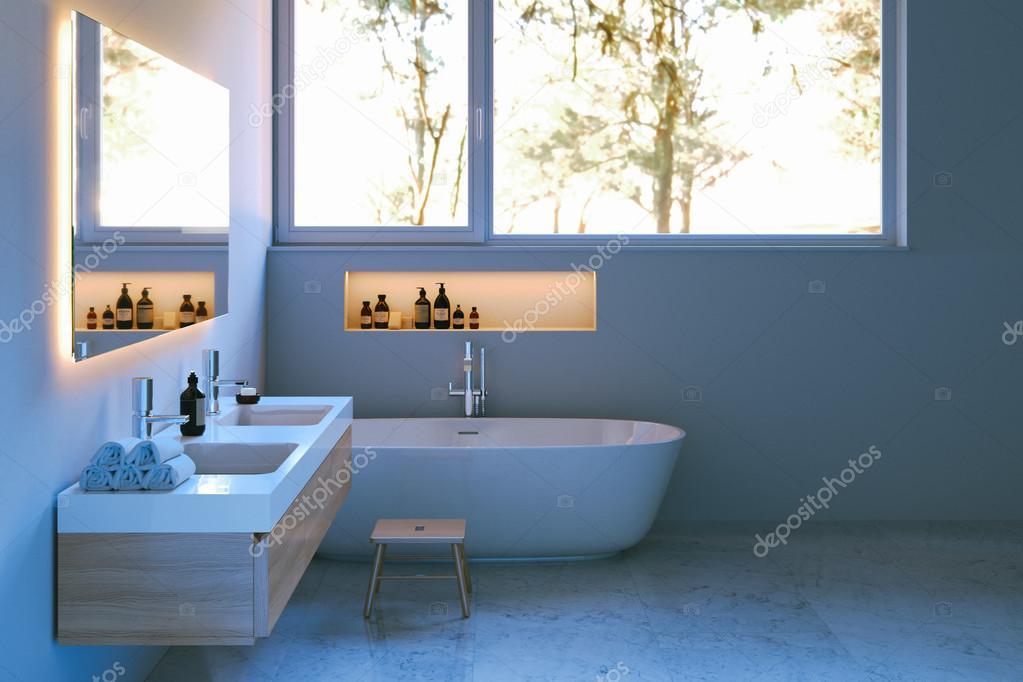 Eleganz Badezimmer Einrichtung mit Marmorboden. 3D render ...