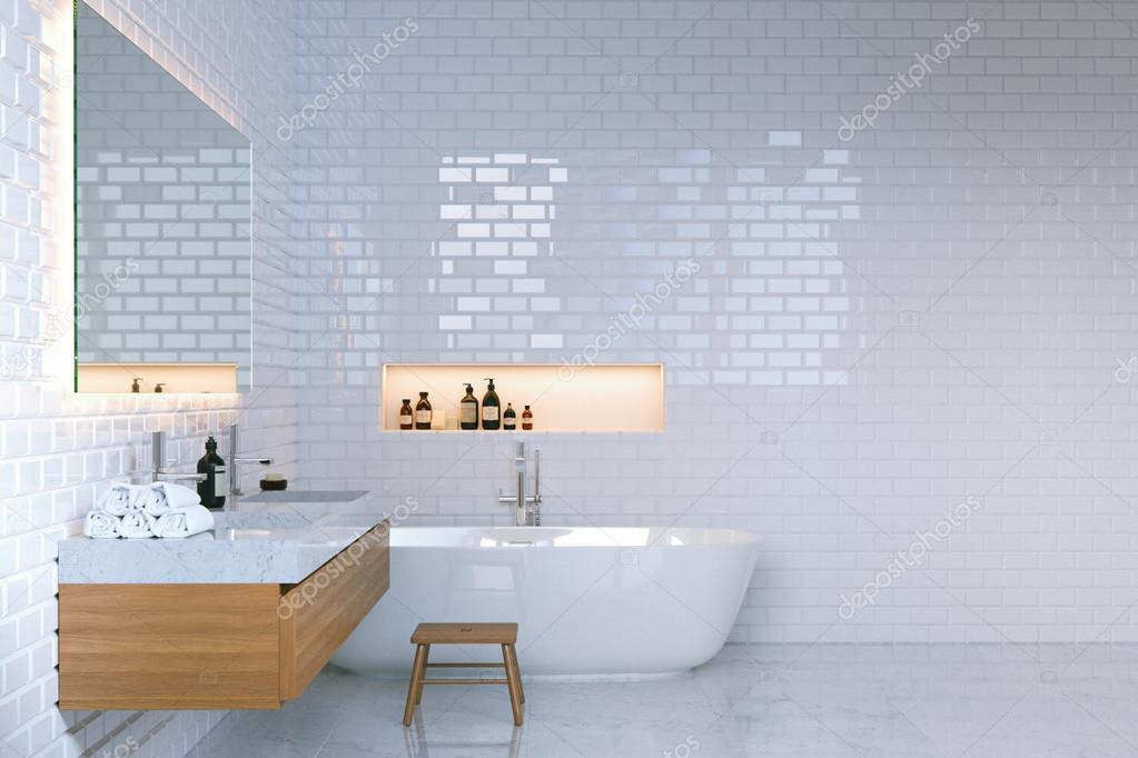 Luxus minimalistischen badezimmer interieur mit backsteinmauern