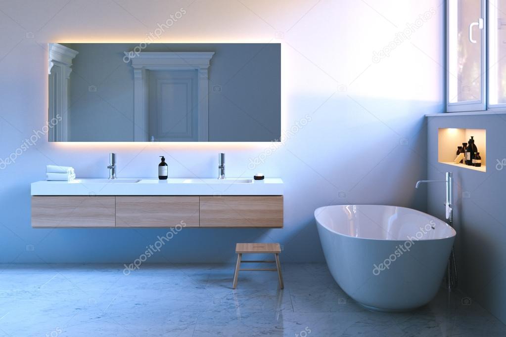 Luxus Badezimmer Mit Fenster Und Marmor Boden. 3D Render U2014 Stockfoto