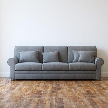 Grey Textile Classic Sofa In Minimalist Interior Room