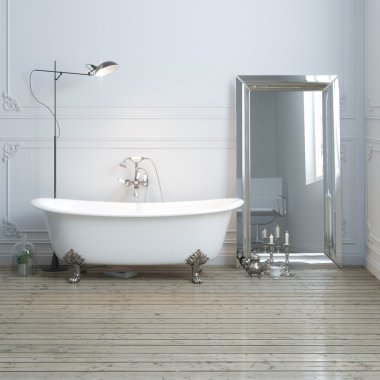 Vintage bathtub in classic interior with lamp and mirror