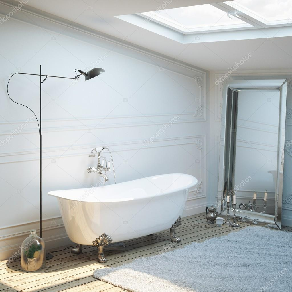 Vintage bathtub in classic interior with lamp and mirror — Stock ...