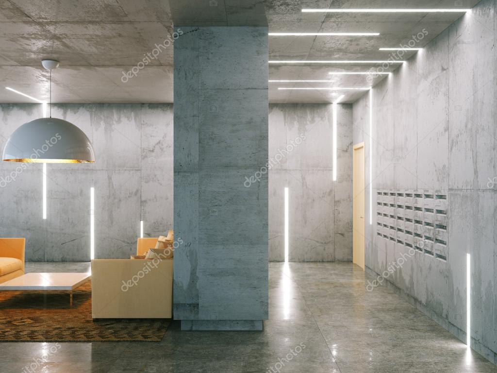 Minimalistische zimmer mit betonflächen post und wohnzimmer