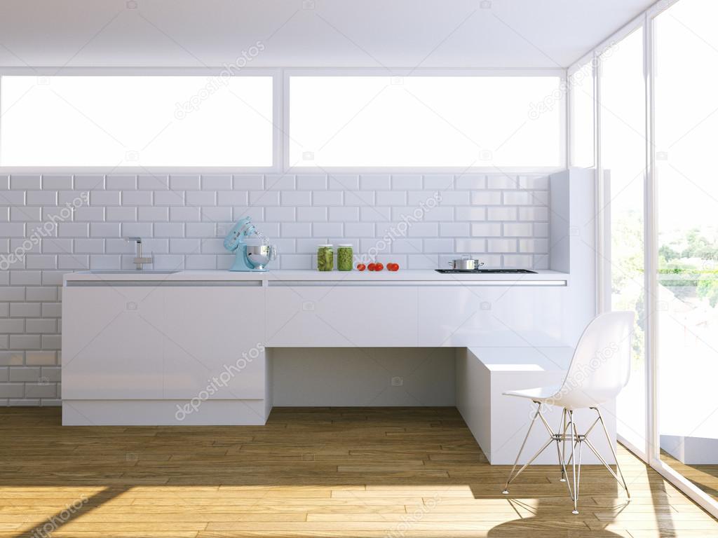 밝은 인테리어에 현대 백색 부엌 — 스톡 사진 © viz-arch #88358128
