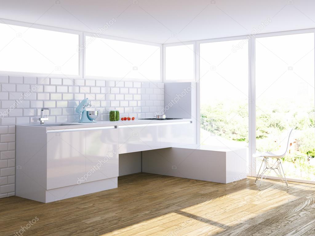 Moderne witte keuken in lichte interieur met grote venster