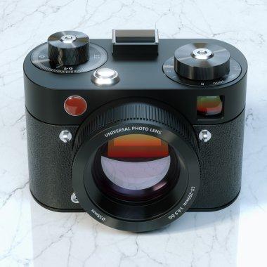 Vintage camera on marble desk