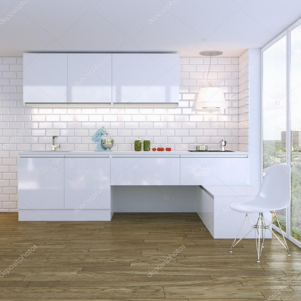 moderne weiß Hochglanz Küche Interieur mit weißen Stuhl — Stockfoto ...