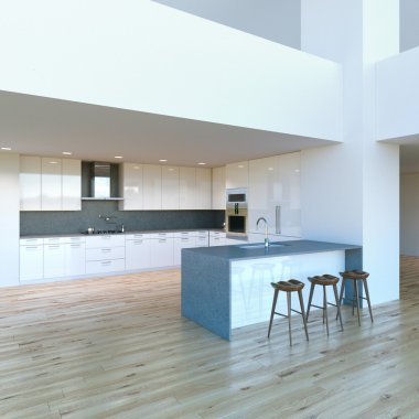 New decorated contemporary white Kitchen in luxury big studio .