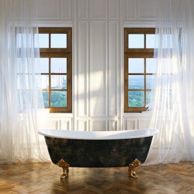 Big bathroom with vintage iron bathtub in center and big windows