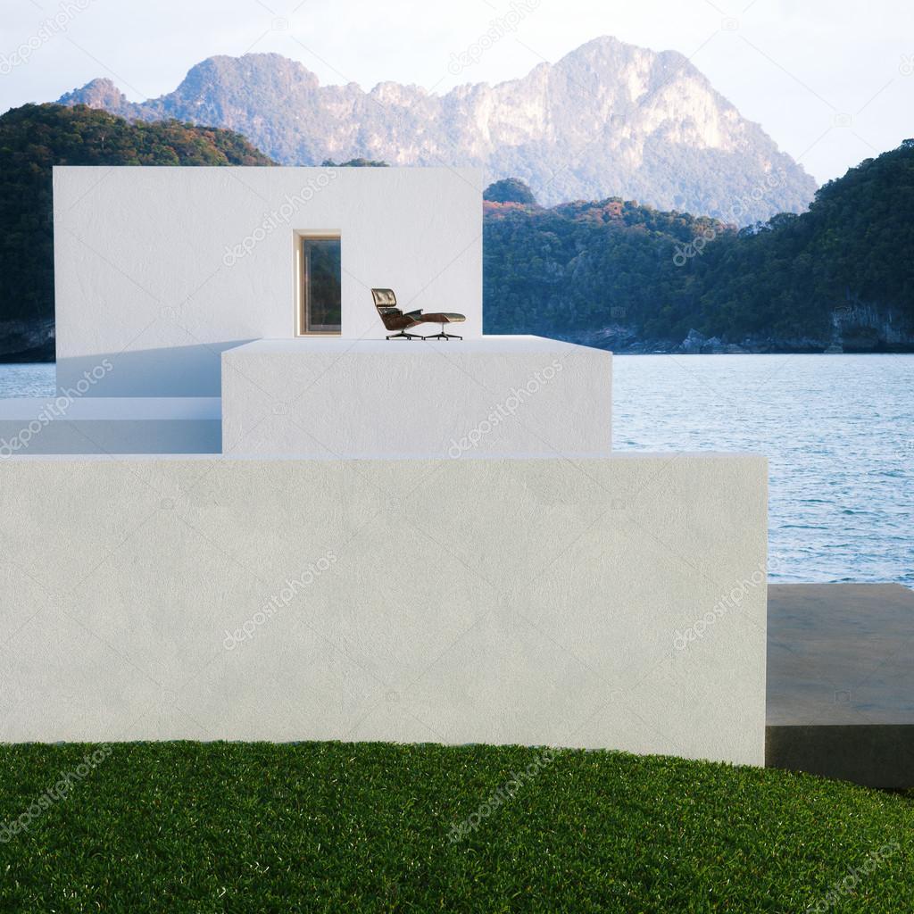 Außenansicht einer zeitgenössischen modernen Haus-Villa am Berg ...