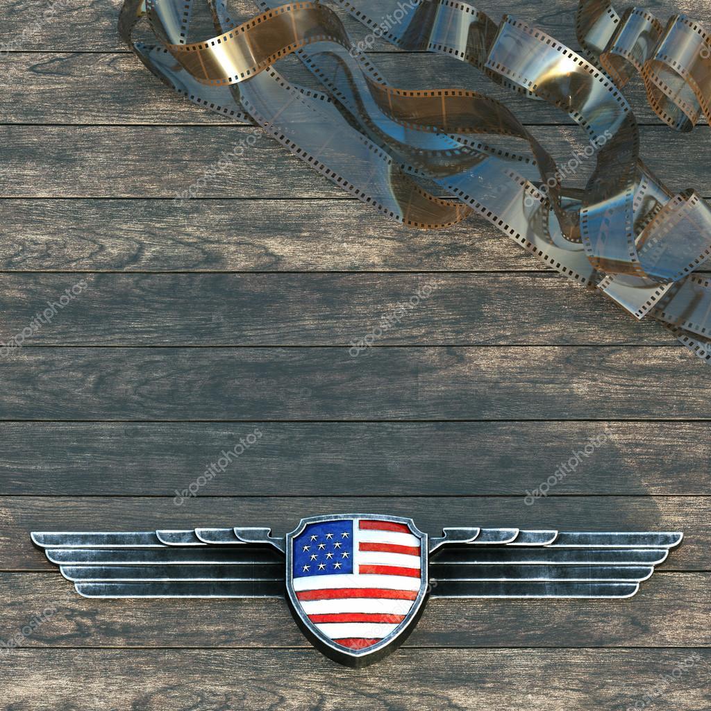 Marco plata alas metálicas y la bandera de Estados Unidos de América ...