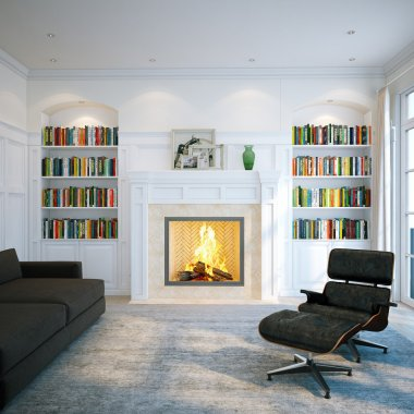 Home library in classic white room. Living interior with fireplace
