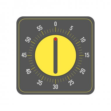 Vector illustration of a kitchen timer, in a minimalistic flat style. Dark gray icon design template with yellow center and tick marks, with a radio button in the middle. icon