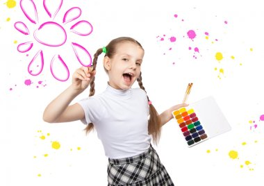 Portrait of happy girls. Schoolgirl draws paints
