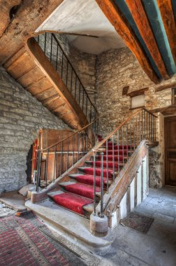 Imposing staircase in an abandoned castle