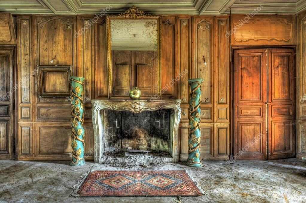 Open Hearth Fireplace In An Abandonned Castle Stock Photo