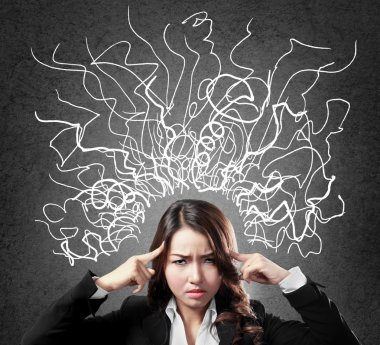 Closeup portrait of young business woman stressed having so many thoughts stock vector