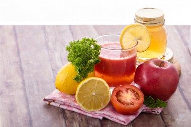 Tomato, Apple, lemon smoothies