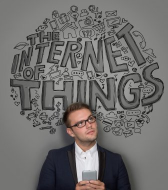 businessman with the internet of things concept