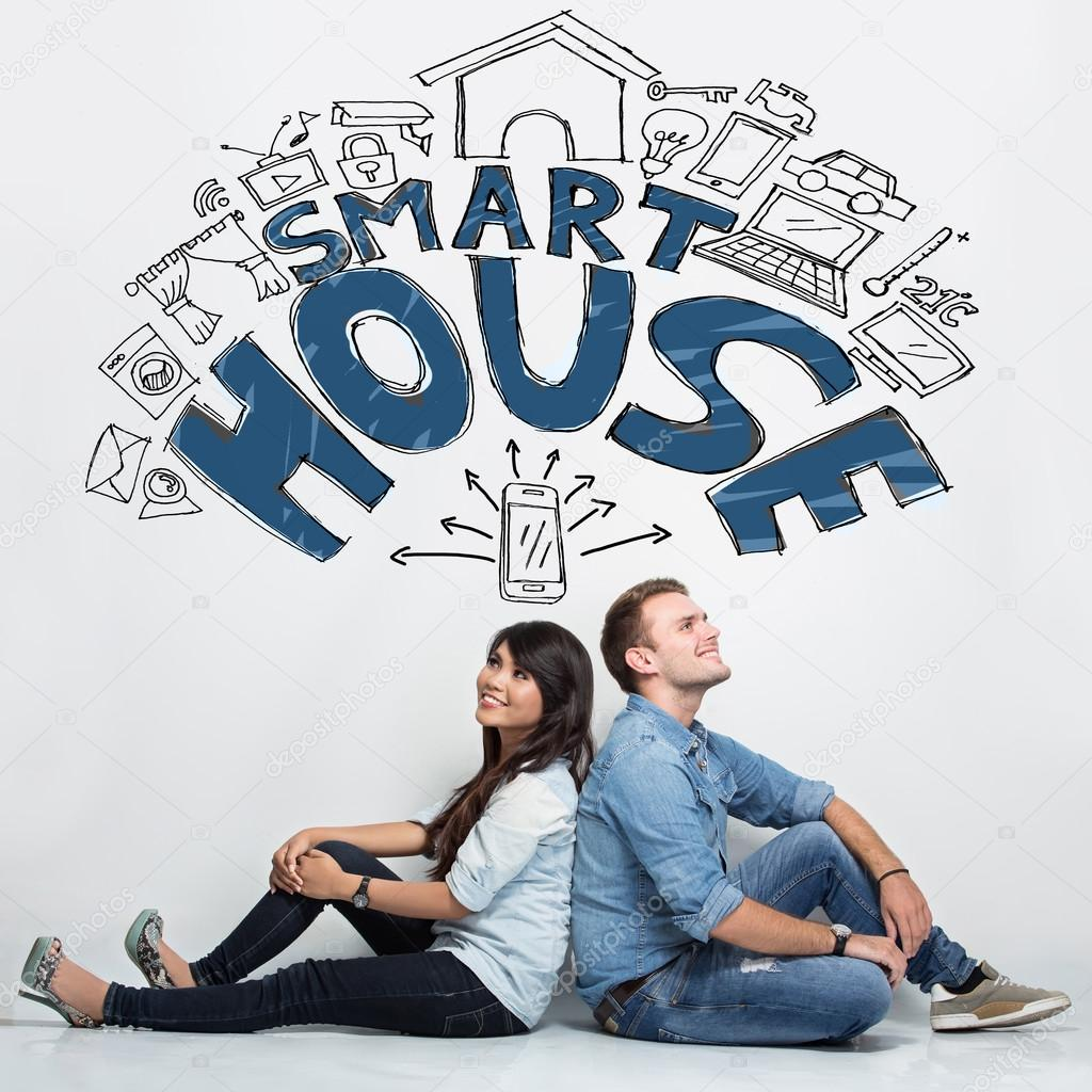 Mixed couple imaginating about smart house system, ilustrated th