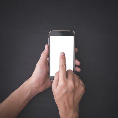 Finger pressing a smartphone, mock up