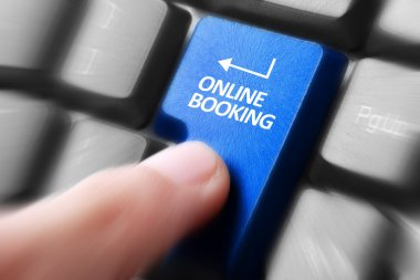 hand press online booking button on keyboard