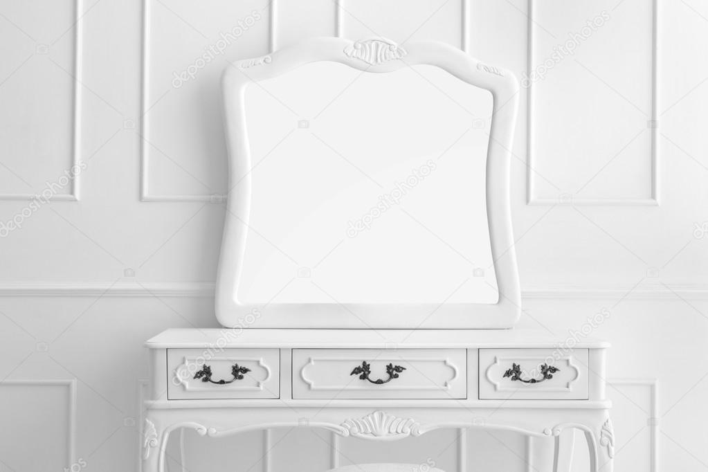 Vintage vanity table set with three drawers and mirror u2014 Stock Photo  sc 1 st  Depositphotos & vintage vanity table set with three drawers and mirror u2014 Stock Photo ...