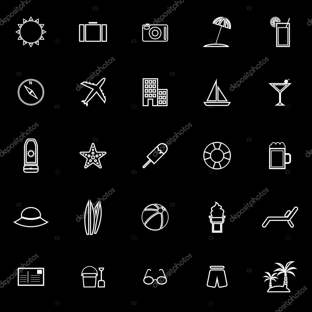 Summer line icons on black background