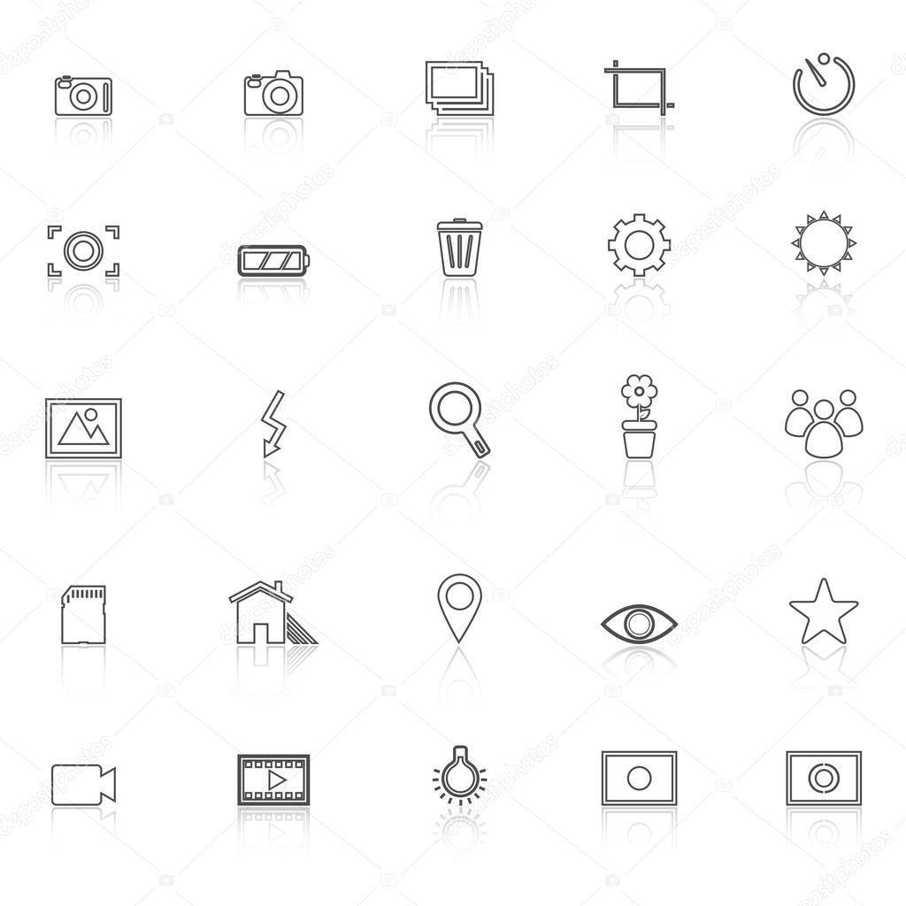 Photography line icons with reflect on white background