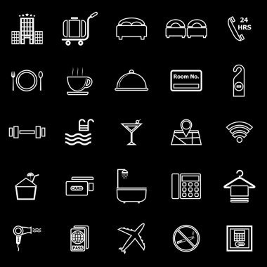 Hotel line icons on black background