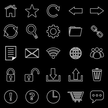 Tool bar line icons on black background