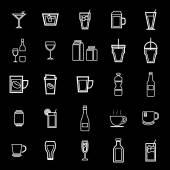 Fotografia Icone della linea bevanda su priorità bassa nera
