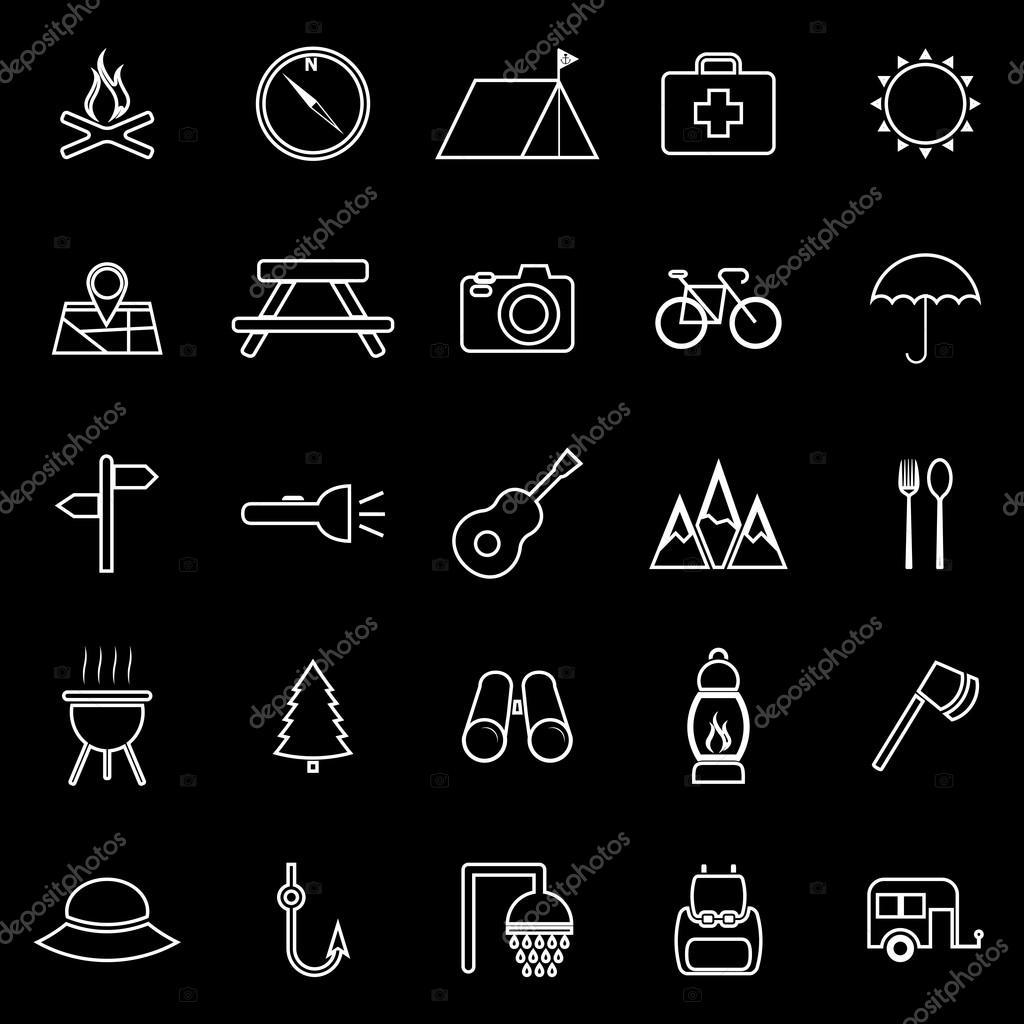Camping line icons on black background