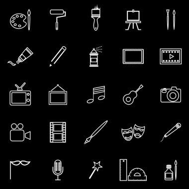 Art line icons on black background