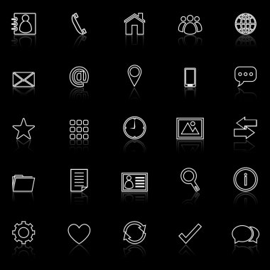 Contact line icons with reflect on black