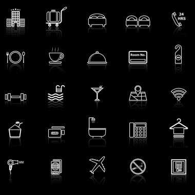 Hotel line icons with reflect on black