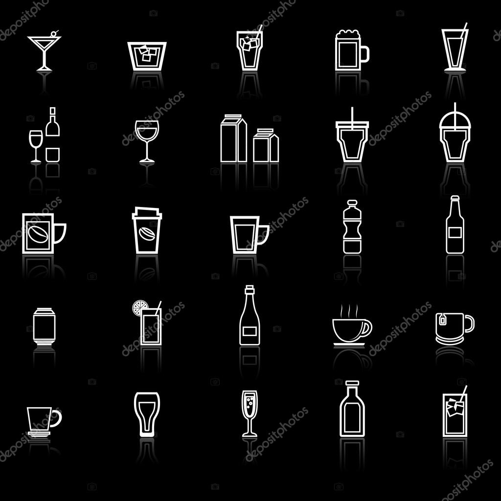 Drink line icons with reflect on black
