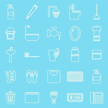 Bathroom line icons on light blue background