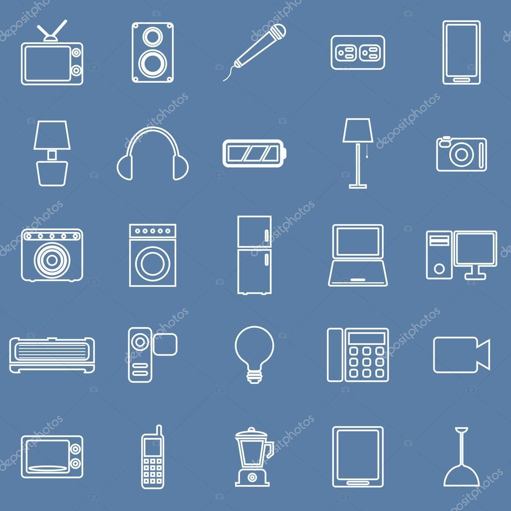 Elektrische Maschine Linie Symbole auf blauem Hintergrund ...