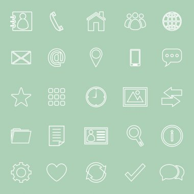 Contact line icons on green background
