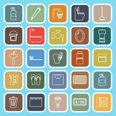 Bathroom line flat icons on light blue background