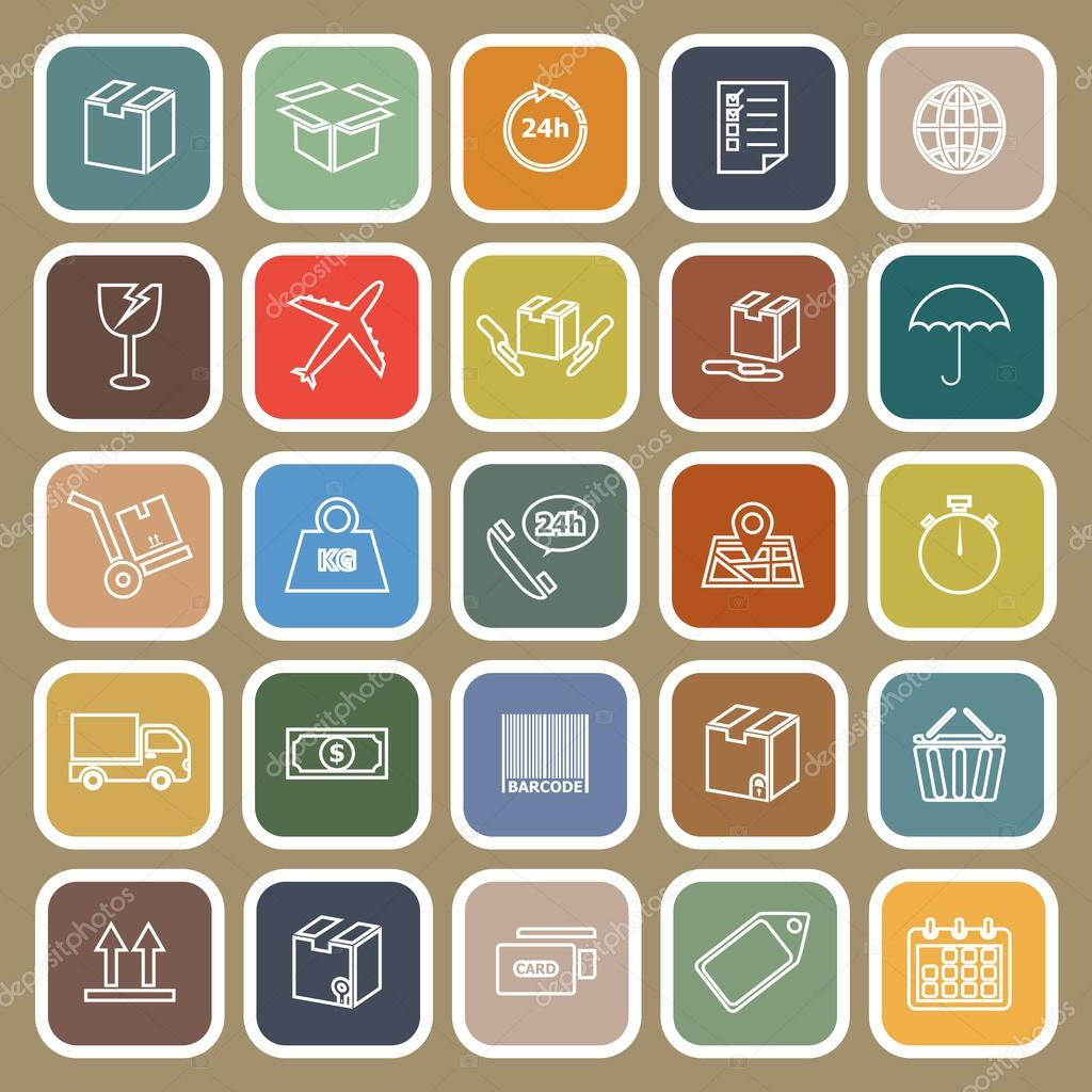 Shipping line flat icons on brown background