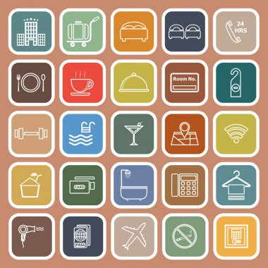 Hotel line flat icons on orange background