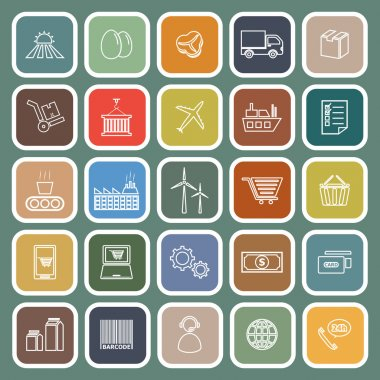 Supply chain line flat icons on green background