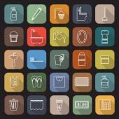Fotografie Koupelnové linie ploché ikony s dlouhý stín