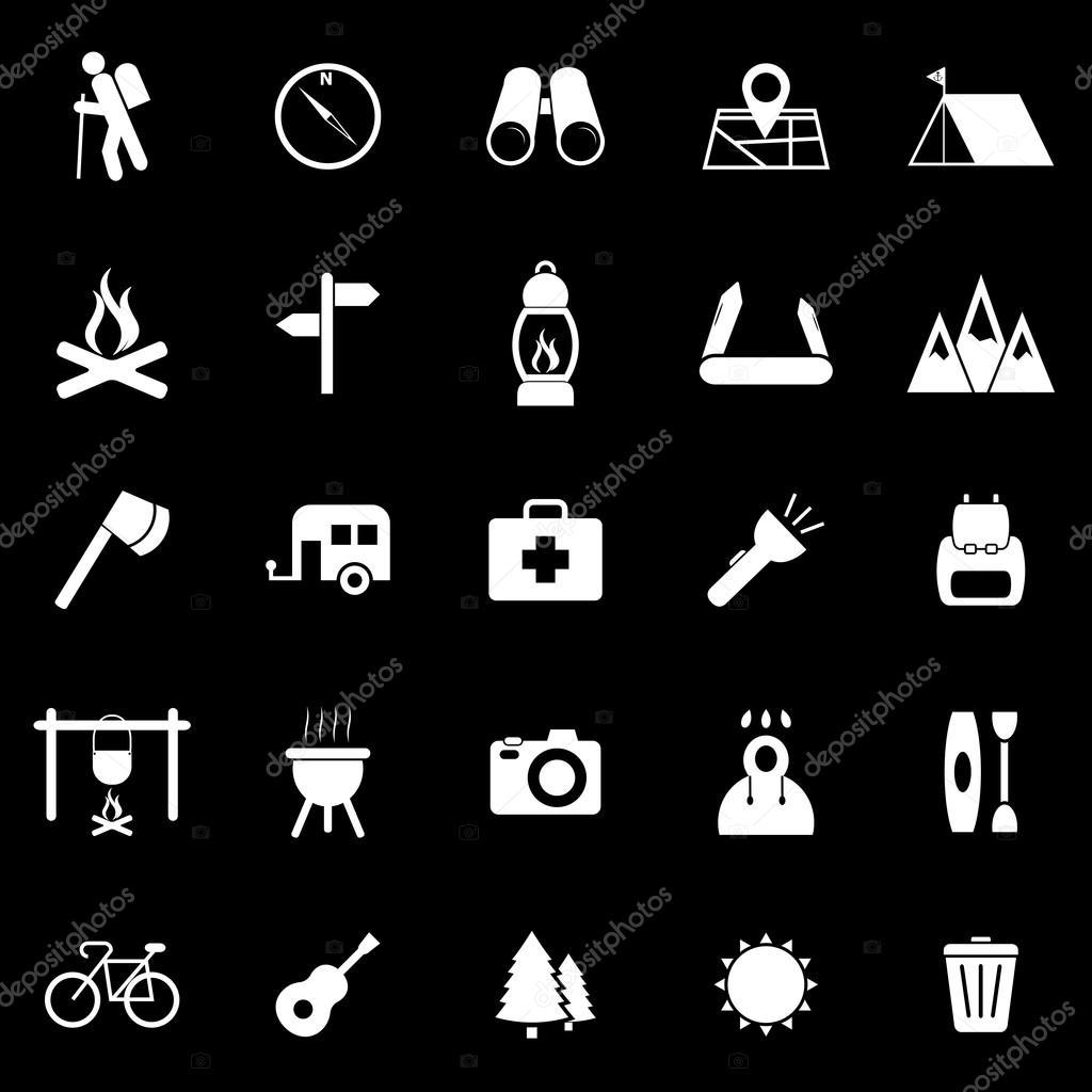 Trekking icons on black background