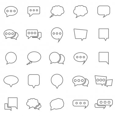 Speech Bubble line icons on white background