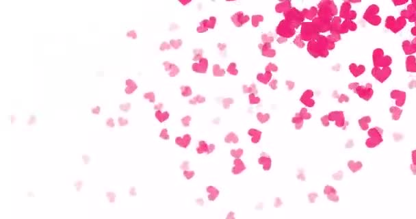 Abstract flying red hearts love passion. Cartoon confetti love signs for your graphic design. Romantic shot in 4k resolution with 60 Frame per second