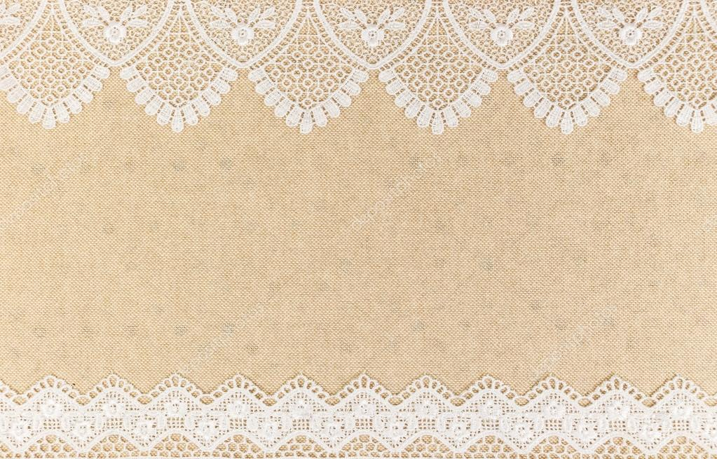 Burlap Texture With White Lace On Wooden Table Background Design Stock Photo