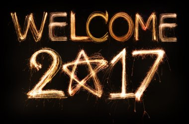 Welcome 2017 word made from sparkler firework